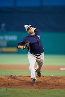 Charlotte Stone Crabs relief pitcher Michael Velasquez (29) delivers a pitch during a game against the Palm Beach Cardinals on July 22, 2017 at Roger Dean Stadium in Palm Beach, Florida.  Charlotte defeated Palm Beach 5-2.  (Mike Janes/Four Seam Images)