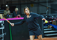 2016, 12 April, Arena Loire, Tr&eacute;laz&egrave;,  Semifinal FedCup, France-Netherlands, French captain Amelie Mauresmo<br /> Photo:Tennisimages/Henk Koster