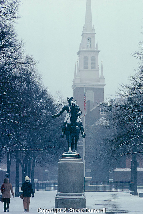 Old North Church, Freedom Trail, Paul Revere statue, snow storm, North End, Boston