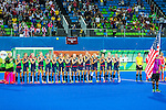 USA team during the national anthem before Great Britain vs USA in a women's Pool B game at the Rio 2016 Olympics at the Olympic Hockey Centre in Rio de Janeiro, Brazil.