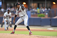 Hickory Crawdads starting pitcher Tyree Thompson (13) delivers a pitch during a game against the Asheville Tourists at McCormick Field on August 17, 2018 in Asheville, North Carolina. The Tourists defeated the Crawdads 6-3. (Tony Farlow/Four Seam Images)