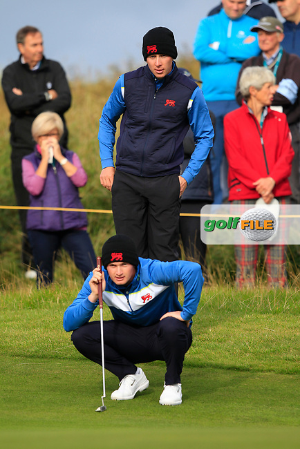 Euan Walker (GB&I) and Sandy Scott (GB&I) on the 4th during the Foursomes at the Walker Cup, Royal Liverpool Golf CLub, Hoylake, Cheshire, England. 07/09/2019.<br /> Picture Thos Caffrey / Golffile.ie<br /> <br /> All photo usage must carry mandatory copyright credit (© Golffile | Thos Caffrey)