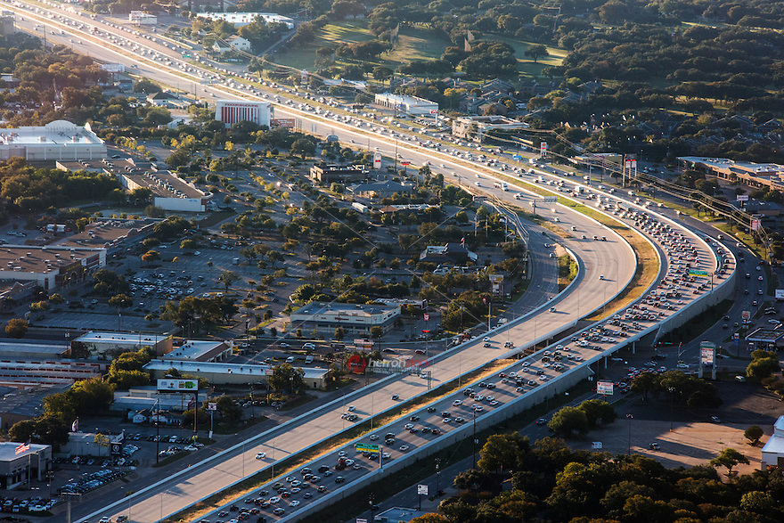 Aerial view from a helicopter of heavy rush-hour morning traffic jam on Hwy 183 in north Austin, Texas.