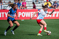 Kansas City, MO - Wednesday August 16, 2017: Katie Bowen, Arin Gilliland during a regular season National Women's Soccer League (NWSL) match between FC Kansas City and the Chicago Red Stars at Children's Mercy Victory Field.