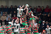 A good size crowd watch from the stand as the two forward packs compete for lineout ball. Counties Manukau Premier Club Rugby game between Wauku & Manurewa played at Waiuku on Saturday June 6th. Manurewa won 36 - 31 after leading 14 - 12 at halftime.