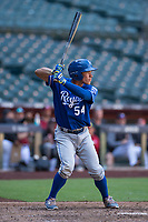 Freddy Fermin (54), of the Kansas City Royals, at bat during an Instructional League game against the Arizona Diamondbacks at Chase Field on October 14, 2017 in Scottsdale, Arizona. (Zachary Lucy/Four Seam Images)