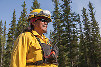 Firefighter and crew boss Kelly Frank with the Upper Tanana 5 crew. Working on the Eagle Trail wildland forest fire, May 2010.