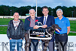 Killahan Gangster won the Kingdom Greyhound Stadium, Tralee,  0N2 unraced sprint final last Saturday night , pictured at the presentation are l-R Martin O'Connor, Vincent McKenna, Declan Dowling and Moss McKenna.