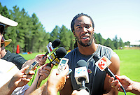 Jul 30, 2008; Flagstaff, AZ, USA; Arizona Cardinals wide receiver Larry Fitzgerald seaks to the media during training camp on the campus of Northern Arizona University. Mandatory Credit: Mark J. Rebilas-