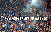 "Calcio, Europa League: Ritorno degli ottavi di finale Roma vs Fiorentina. Roma, stadio Olimpico, 19 marzo 2015.<br /> Roma fans hold a banner reading 'Mercenaries, change ""job""' during the Europa League round of 16 second leg football match between Roma and Fiorentina at Rome's Olympic stadium, 19 March 2015.<br /> UPDATE IMAGES PRESS/Riccardo De Luca"