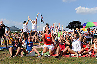 Fans celebrate the second US goal as they watch the finals of the 2011 FIFA Women's World Cup prior to a Women's Professional Soccer (WPS) match between Sky Blue FC and the Western New York Flash at Yurcak Field in Piscataway, NJ, on July 17, 2011.