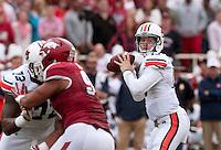 NWA Democrat-Gazette/BEN GOFF @NWABENGOFF<br /> Sean White, Auburn quarterback, throws a pass in the second quarter on Saturday Oct. 24, 2014 during the game in Razorback Stadium in Fayetteville.