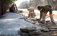 NWA Democrat-Gazette/BEN GOFF @NWABENGOFF<br /> Derek Lehecka (right) works with a crew from Rock Solid Trail Contracting, LLC, to build new flow features Friday, Jan. 5, 2018, on the Ozone trail in Bentonville. The new features will make a more interesting line for riders on the relatively straight and flat section of the trail, part of the Slaughter Pen mountain bike trail system, where it runs beside Northwest A Street.