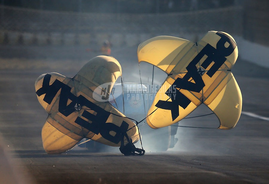 Feb 12, 2016; Pomona, CA, USA; Detailed view of the twin parachutes on the car of NHRA funny car driver John Force during qualifying for the Winternationals at Auto Club Raceway at Pomona. Mandatory Credit: Mark J. Rebilas-USA TODAY Sports