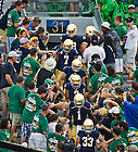 Aug. 31, 2013; Players enter Notre Dame Stadium through the student section before warmups.<br /> <br /> Photo by Matt Cashore