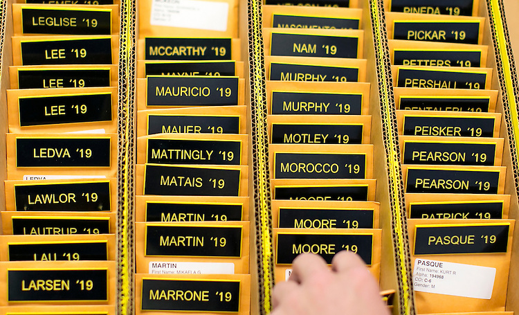 "UNITED STATES - JULY 1 - Name tags await to distributed during Induction Day at the U.S. Naval Academy, Wednesday, July 1, 2015, in Annapolis, Md. More than 1,100 young men and women reported for ""I-Day,"" where they received haircuts, medical examinations, new uniforms and instructions on how to salute before taking an oath of office to become members of academy's newest class. (Photo By Al Drago/CQ Roll Call)"