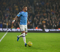 27th December 2019; Molineux Stadium, Wolverhampton, West Midlands, England; English Premier League, Wolverhampton Wanderers versus Manchester City; Kyle Walker of Manchester City with the ball at his feet looking for a pass