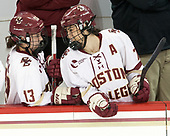 Haley McLean (BC - 13), Kristyn Capizzano (BC - 7) - The Boston College Eagles defeated the visiting University of Maine Black Bears 2-1 on Saturday, October 8, 2016, at Kelley Rink in Conte Forum in Chestnut Hill, Massachusetts.  The University of North Dakota Fighting Hawks celebrate their 2016 D1 national championship win on Saturday, April 9, 2016, at Amalie Arena in Tampa, Florida.