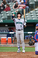 Cedar Rapids Kernels DaShawn Keirsey (5) points to the sky before an at bat during a Midwest League game against the South Bend Cubs at Four Winds Field on May 8, 2019 in South Bend, Indiana. South Bend defeated Cedar Rapids 2-1. (Zachary Lucy/Four Seam Images)