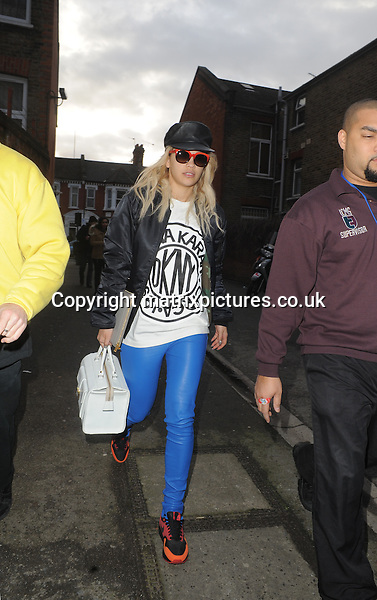 NON EXCLUSIVE PICTURE: MATRIXPICTURES.CO.UK.PLEASE CREDIT ALL USES..WORLD RIGHTS..British singer-songwriter Rita Ora is pictured arriving in Shephard's Bush ahead of her live performance at the O2 Shepherds Bush Empire tonight...FEBRUARY 6th 2013..REF: LTN 13807