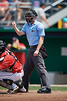 Umpire Dylan Bradley calls a strike during a game between the Lowell Spinners and Batavia Muckdogs on July 15, 2018 at Dwyer Stadium in Batavia, New York.  Lowell defeated Batavia 6-2.  (Mike Janes/Four Seam Images)