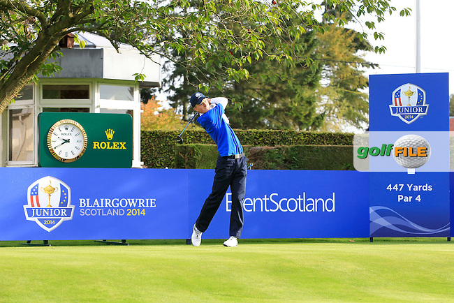 Marcus Kinhult (SWE) on the 1st tee during Day 2 Singles for the Junior Ryder Cup 2014 at Blairgowrie Golf Club on Tuesday 23rd September 2014.<br /> Picture:  Thos Caffrey / www.golffile.ie