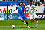 14.04.2019, PreZero Dual Arena, Sinsheim, GER, 1. FBL, TSG 1899 Hoffenheim vs. Hertha BSC Berlin, <br /> <br /> DFL REGULATIONS PROHIBIT ANY USE OF PHOTOGRAPHS AS IMAGE SEQUENCES AND/OR QUASI-VIDEO.<br /> <br /> im Bild: Florian Grillitsch (TSG 1899 Hoffenheim #11) gegen Salomon Kalou (#8, Hertha BSC Berlin)<br /> <br /> Foto © nordphoto / Fabisch