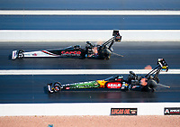 Nov 3, 2019; Las Vegas, NV, USA; NHRA top fuel driver Billy Torrence (top) races alongside Terry McMillen during the Dodge Nationals at The Strip at Las Vegas Motor Speedway. Mandatory Credit: Mark J. Rebilas-USA TODAY Sports