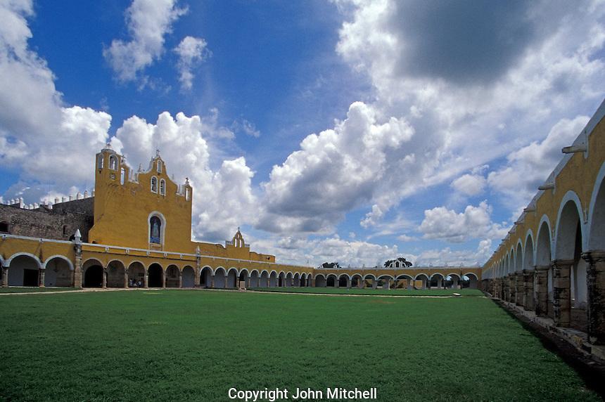 The Convento de San Antonio de Padua and the Santuario de la Virgen de Izamal, Izamal, Yucatan, Mexico. This 16th century convent was built on the remains of an ancient Maya temple.