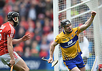 Tony Kelly of Clare celebrates a late goal against Cork during their Munster Senior game at Pairc Ui Chaoimh. Photograph by John Kelly.