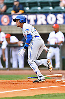 Kingsport Mets right fielder Wagner Lagrange (27) runs to first base during a game against the Greeneville Astros at Pioneer Park on July 1, 2017 in Greeneville, Tennessee. The Astros defeated the Mets 6-2. (Tony Farlow/Four Seam Images)
