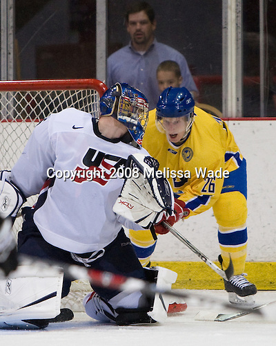 Brandon Maxwell (US White - 35), Simon Hjalmarsson (Sweden 26) - Team Sweden defeated Team USA White 7-3 on Friday, August 8, 2008, in the 1980 Rink during the 2008 US National Junior Evaluation Camp and Summer Hockey Challenge in Lake Placid, New York.