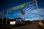 BAJA CALIFORNIA - NOVEMBER 26, 2013:  A sign welcomes visitors to Valle de Guadalupe, Mexico's wine region. Residents and wineries in Mexico's wine country are protesting the mayor's relaxing of zoning regulations they say will lead to a drastic change in the culture of  the popular tourist destination.  CREDIT: Max Whittaker for The New York Times