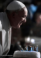 Pope Francis during of a weekly general audience at St Peter's square in Vatican, Wednesday.December 17, 2015