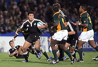 New Zealand centre Robert Fruean on the attack during the U19 Championship final against South Africa at Ravenhill, Belfast.