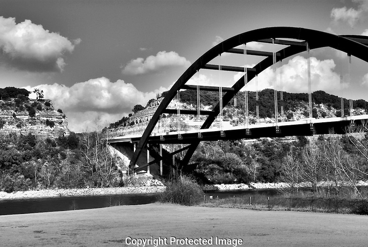 View from below the Pennybacker Bridge over Lake Austin