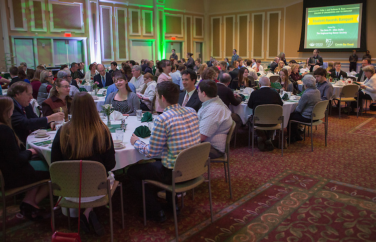 Students, families, and professors gather in Baker Ballroom before lunch at the beginning of the Fritz J. and Dolores H. Russ College of Engineering and Technology Student Awards Banquet, hosted by Tau Beta Pi, the engineering honor society at Ohio University, on April 10, 2016. (Photo by Emily Matthews)