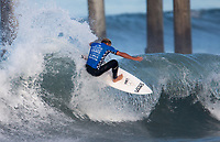 Huntington Beach, CA - Thursday August 03, 2017: Tanner Gudauskas during a World Surf League (WSL) Qualifying Series (QS) second round heat in the 2017 Vans US Open of Surfing on the South side of the Huntington Beach pier.