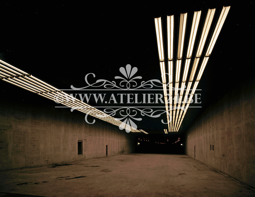 Januari 1969. Bouwwerken voor de E3 in Antwerpen. Bouw van de Kennedytunnel.