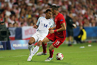 Jacob Murphy of England and Jaroslaw Jach of Poland during England Under-21 vs Poland Under-21, UEFA European Under-21 Championship Football at The Kolporter Arena on 22nd June 2017