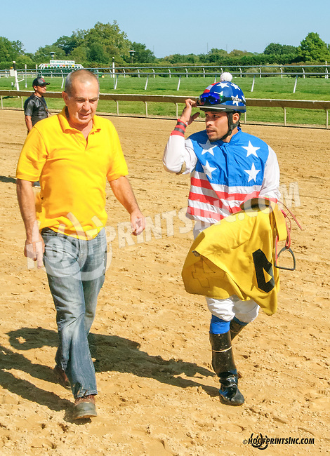 Burning Wild before The Longines Gentlemans International Fegentri race at Delaware Park on 9/14/15 - Mr. Jerry Ortega aboard