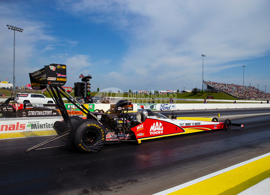 May 18, 2018; Topeka, KS, USA; NHRA top fuel driver Doug Kalitta during qualifying for the Heartland Nationals at Heartland Motorsports Park. Mandatory Credit: Mark J. Rebilas-USA TODAY Sports