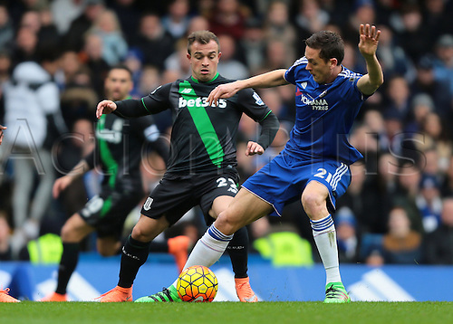 05.03.2016. Stamford Bridge, London, England. Barclays Premier League. Chelsea versus Stoke City. Chelsea Midfielder Nemanja Matić defends against Stoke City Midfielder Xherdan Shaqiri