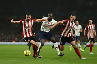 9th November 2019; Tottenham Hotspur Stadium, London, England; English Premier League Football, Tottenham Hotspur versus Sheffield United; Moussa Sissoko of Tottenham Hotspur competes for the ball with Enda Stevens of Sheffield United - Strictly Editorial Use Only. No use with unauthorized audio, video, data, fixture lists, club/league logos or 'live' services. Online in-match use limited to 120 images, no video emulation. No use in betting, games or single club/league/player publications