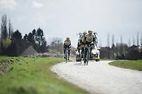 Sep Vanmarcke (BEL/LottoNL-Jumbo) & teammates during recon of the 114th Paris - Roubaix 2016