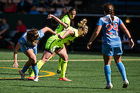 Seattle, WA - Sunday, May 22, 2016: Seattle Reign FC midfielder Beverly Yanez (17) fights to win the ball during a regular season National Women's Soccer League (NWSL) match at Memorial Stadium. Chicago Red Stars won 2-1.