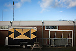 Alvechurch FC 3 Highgate United 0, 26/12/2016. Lye Meadow, Midland Football League Premier Division. A catering caravan parked inside Lye Meadow before Alvechurch hosted Highgate United in a Midland Football League premier division match. Originally founded in 1929 and reformed in 1996 after going bust, the club has plans to move from their current historic ground to a new purpose-built stadium in time for the 2017-18 season. Alvechurch won this particular match by 3-0, watched by 178 spectators, taking them back to the top of the league. Photo by Colin McPherson.