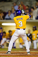 Trey Watkins #3 of the LSU Tigers at bat against the Wake Forest Demon Deacons at Alex Box Stadium on February 18, 2011 in Baton Rouge, Louisiana.  The Tigers defeated the Demon Deacons 15-4.  Photo by Brian Westerholt / Four Seam Images