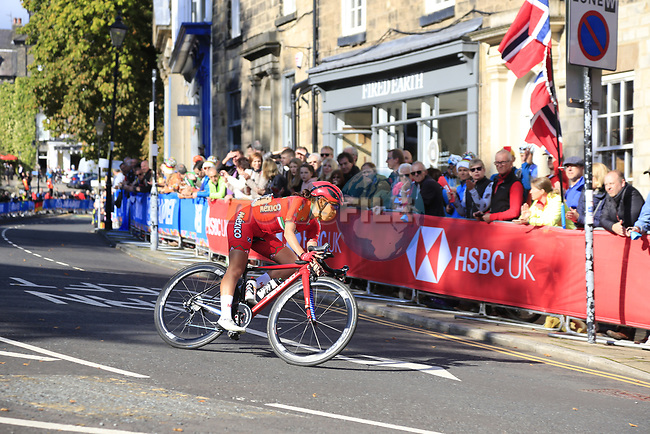 Brenda Andrea Santoyo Perez (MEX) arrives in Harrogate during the Women Elite Road Race of the UCI World Championships 2019 running 149.4km from Bradford to Harrogate, England. 28th September 2019.<br /> Picture: Eoin Clarke | Cyclefile<br /> <br /> All photos usage must carry mandatory copyright credit (© Cyclefile | Eoin Clarke)