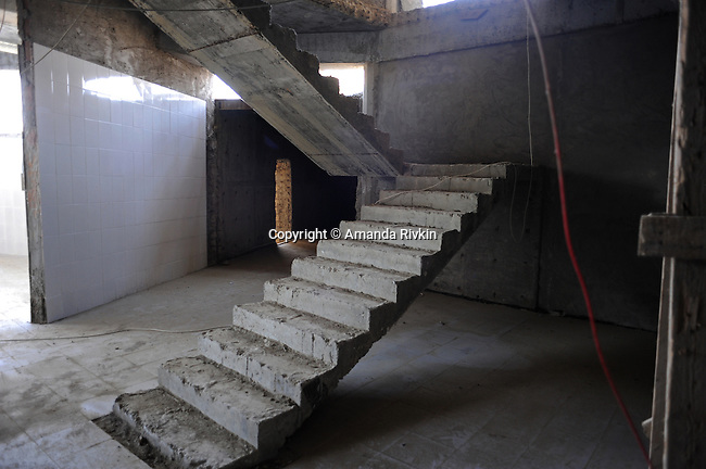 A stairwell is seen in what is to become one of the restaurants at the Khazar Islands project near Sahil, Azerbaijan on July 18, 2012.  The brainchild of Ibrahim Ibrahimov, an Azerbaijani oligarch and billionaire, the artificial Khazar Islands project just southwest of the Azerbaijani capital Baku is being built at a projected cost of $100 billion with an anticipated 800,000 housing units.